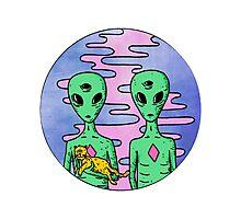2 Aliens 1 Cat Photographic Print