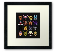 Five Nights at Freddy's - Pixel art - Multiple characters Framed Print