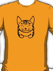 Happy Cat - Tabby (black) - Large pic T-Shirt