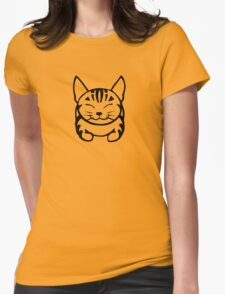Happy Cat - Tabby (black) - Large pic Womens Fitted T-Shirt