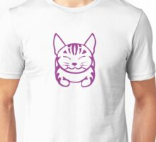 Happy Cat - Tabby (purple) - Large pic Unisex T-Shirt