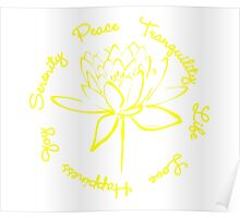 Serenity Tranquility Lotus (Yellow) Poster