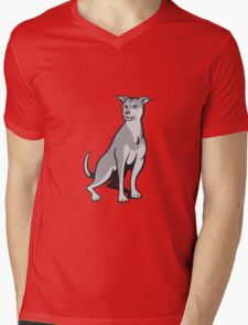 Husky Shar Pei Cross Dog Sitting Cartoon Mens V-Neck T-Shirt