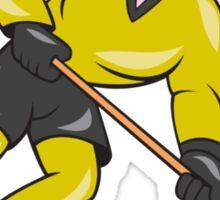 Ice Hockey Player In Action Cartoon Sticker