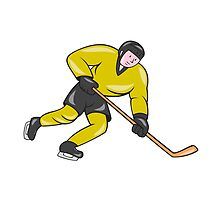 Ice Hockey Player In Action Cartoon by patrimonio