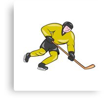 Ice Hockey Player In Action Cartoon Canvas Print