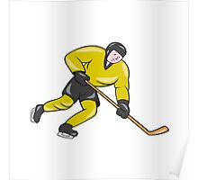 Ice Hockey Player In Action Cartoon Poster