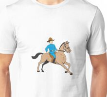 Mounted Police Officer Riding Horse Cartoon Unisex T-Shirt