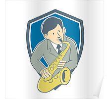 Musician Playing Saxophone Shield Cartoon Poster