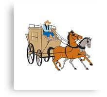 Stagecoach Driver Horse Cartoon Canvas Print