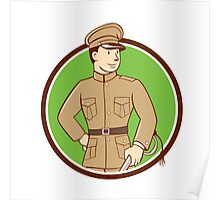 World War One British Officer Circle Cartoon Poster