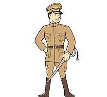 World War One British Officer Standing Cartoon by patrimonio