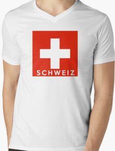 flag of Switzerland Mens V-Neck T-Shirt