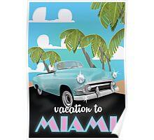 Vintage Miami travel poster Poster