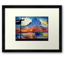 Sunset beach, Arambol, India, Goa, paper watercolor, ink pen Framed Print