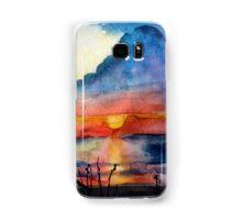 Sunset beach, Arambol, India, Goa, paper watercolor, ink pen Samsung Galaxy Case/Skin
