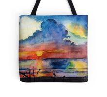 Sunset beach, Arambol, India, Goa, paper watercolor, ink pen Tote Bag