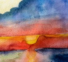 Sunset beach, Arambol, India, Goa, paper watercolor, ink pen Sticker