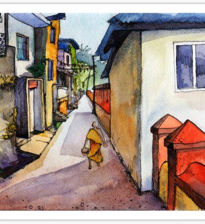 landscape watercolor Indian village Sticker