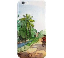 landscape watercolor Indian village, a cyclist on the road iPhone Case/Skin