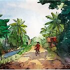 landscape watercolor Indian village, a cyclist on the road by OlgaBerlet