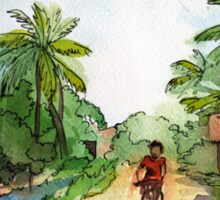 landscape watercolor Indian village, a cyclist on the road Sticker