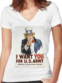 I Want You - Uncle Sam Women's Fitted V-Neck T-Shirt