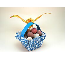 Origami bird and basket Photographic Print