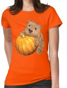 Pumpkin Bear Womens Fitted T-Shirt