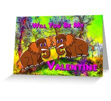 Woolly Mammoth Babies Inviting Each Other to be Their Valentine Greeting Card