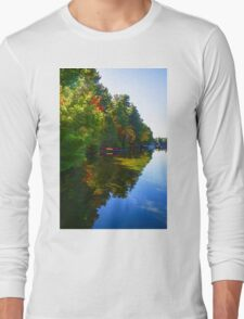 Autumn Lake Mirror - Impressions Of Fall Long Sleeve T-Shirt