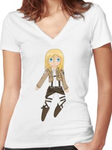 Chibi Christa Women's Fitted V-Neck T-Shirt