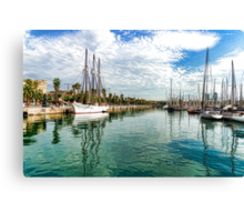 Yachts and Palm Trees - Impressions of Barcelona  Canvas Print