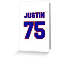 National football player Justin Hartwig jersey 75 Greeting Card