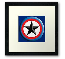 Bulls Eye, Right on Target, Roundel, Archery, Star, on Dark Blue Framed Print