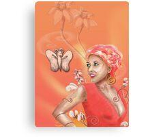 Peach, Flower, Curls Canvas Print