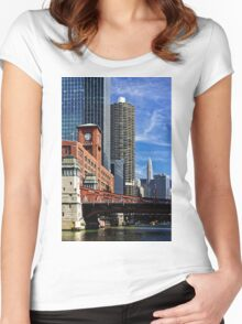 Chicago river cruise view towards  La Salle Street Bridge Women's Fitted Scoop T-Shirt