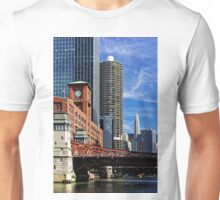 Chicago river cruise view towards  La Salle Street Bridge Unisex T-Shirt