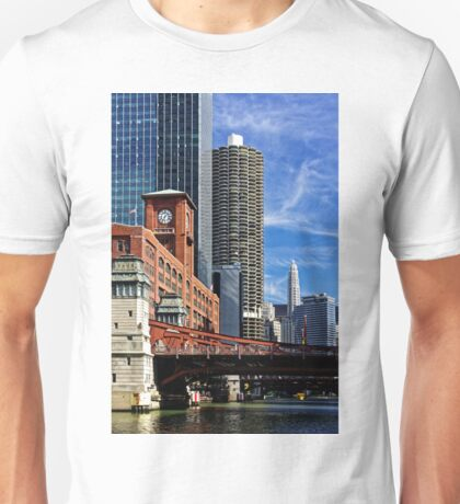 Chicago river cruise view towards  La Salle Street Bridge Unisex T-Shirt