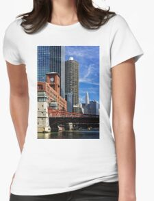 Chicago river cruise view towards  La Salle Street Bridge Womens Fitted T-Shirt