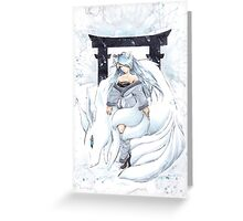 Snow Kitsune Greeting Card