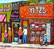 TORONTO PAINTINGS TORONTO SCENES TORONTO ART TORONTO DELIS  YITZ'S DELI  by Carole  Spandau
