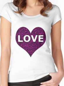 Love Heart Purple Chrome Women's Fitted Scoop T-Shirt