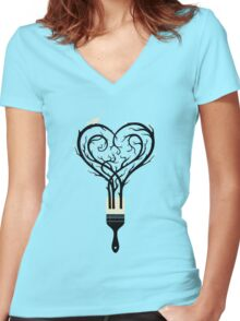 Paint your love song Women's Fitted V-Neck T-Shirt