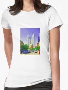 TORONTO DOWNTOWN SCENES TORONTO ART TORONTO PRINTS PAINTINGS OF FLATIRON BUILDING Womens Fitted T-Shirt