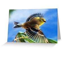 Flying Goldfinch Painting Greeting Card