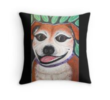 Gracie May Staffy under the lime tree Throw Pillow