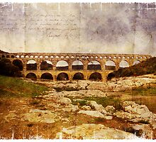Forgotten Postcard - Pont du Gard, France by Alison Cornford-Matheson