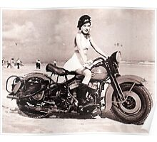 Vintage Motorcycle Girl Poster