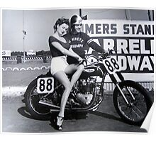 Triumph Bike with Model Poster